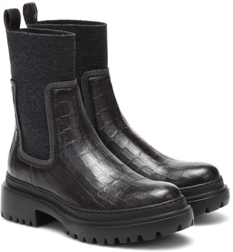 Brunello Cucinelli Croc-effect leather ankle boots