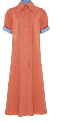 Thierry Colson Tifenn Two-Tone Cotton-Poplin Maxi Dress