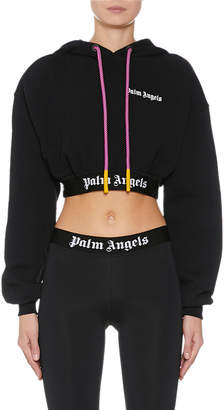 Palm Angels Cropped Logo-Print Hooded Sweatshirt