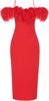 Rasario Exclusive Cold-Shoulder Feather-Trimmed Crepe Midi Dress