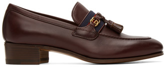 Gucci Burgundy Web Interlocking G Loafers