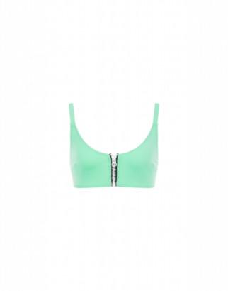 Moschino Bikini Top With Zip Woman Green Size 1 It - (4 Us)