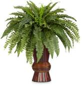 Bed Bath & Beyond Nearly Natural Boston Fern Silk Plant with Bamboo Vase
