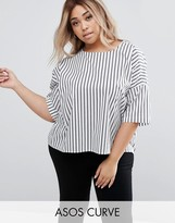 Asos Oversized Cotton Top In Stripe