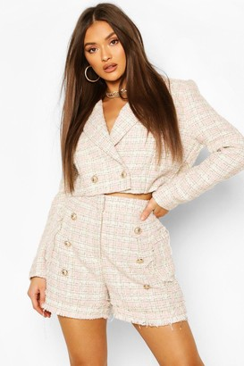boohoo Boucle Checked Gold Button Cropped Blazer