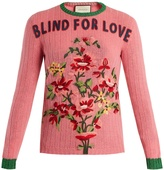 Gucci Floral-embroidered ribbed-knit wool sweater