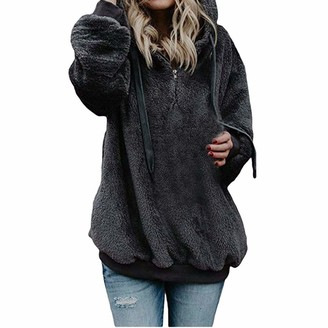 Younthone Womens Hooded Sweatshirt Winter Warm Artificial Wool Zipper Pockets Cotton Coat Soft Comfortable Large Size Sweater Coat Casual T-Shirt Jacket Minimalist Party Teddy Bear Outwear(Dark Gray XXXXXL)
