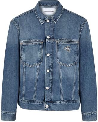 Calvin Klein Jeans Blue logo-embroidered denim jacket