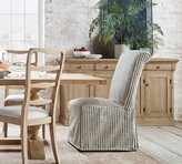 Pottery Barn PB Comfort Roll Dining Side Chair Long Slipcover Only, Vintage Stripe Black/Ivory