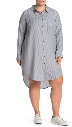 Susina Striped Button Down High/Low Shirt Dress (Plus Size)