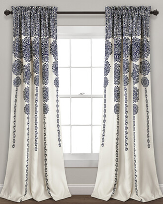 Triangle Home Fashion Stripe Medallion Room Darkening Window Curtain Panels