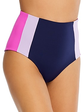 L-Space Portia Colorblocked High-Waist Bikini Bottom
