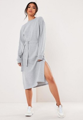 Missguided Gray Midi Sweater Dress