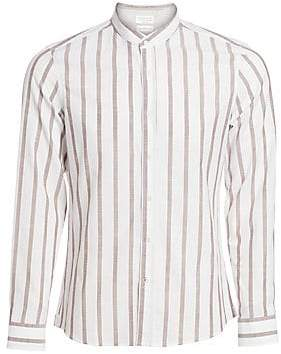 Brunello Cucinelli Men's Mandarin Collar Striped Sport Shirt