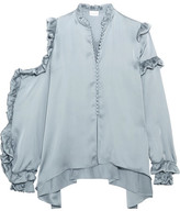 Magda Butrym - Lecce Cutout Ruffled Silk-satin Blouse - Gray