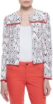 Indikka Ikat-Print Stretch-Knit Jacket, Black/White