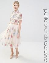 Maya Petite All Over Rose Embellished Full Prom Skirt