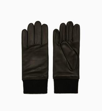 Calvin Klein Leather Knit Cuff Touchscreen Gloves