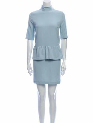 Ganni Mock Neck Mini Dress w/ Tags Blue