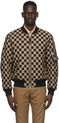 Burberry Black and Beige Checkered Brookland Bomber Jacket