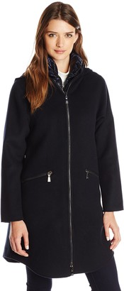 Dawn Levy Women's Parker Wool Coat with Removable Down Vest L Abyss