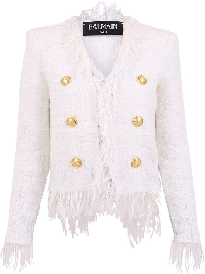 b18ff276022 Balmain Fringed Jacket - ShopStyle