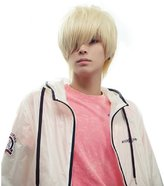 New Fashion Cool Mens Boys Short Straight Platinum Blonde Hair Party Cosplay Wig