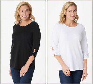 Quacker Factory Set of Two Knit T-Shirts with Faux Pearl Detail