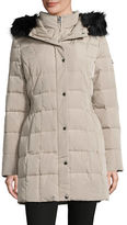 Calvin Klein Hooded Down Coat with Faux Fur Trim