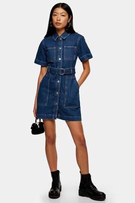 Topshop Womens Dark Blue Short Sleeve Denim Belted Shirt Dress - Mid Stone