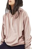 Topshop Women's Oversized Velvet Hoodie