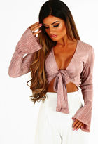 Pink Boutique Perfect Pleats Blush Shimmer Pleated Long Sleeve Crop Top
