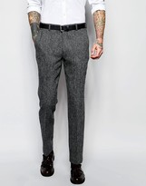 Asos Slim Suit Trousers In Grey Harris Tweed