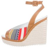 Hermes Canvas Espadrille Wedges