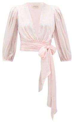 Alexandre Vauthier V-neck Silk-charmeuse Wrap Blouse - Light Pink