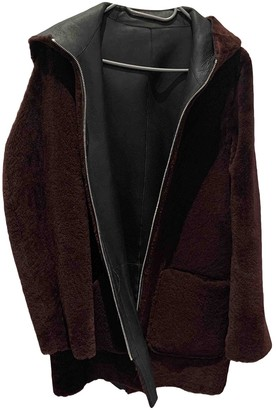 Sandro Burgundy Shearling Coats