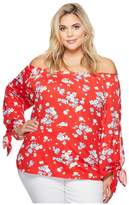 Lauren Ralph Lauren Plus Size Floral Jersey Off the Shoulder Top Women's Clothing