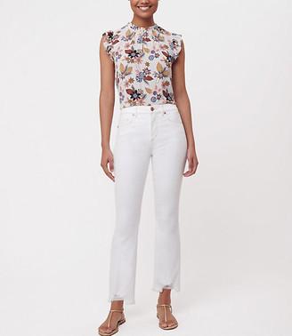 LOFT Petite Flare Crop Jeans in White