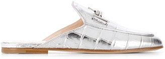 Tod's crocodile-effect backless loafers