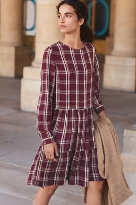 Next Womens Plum Tiered Check Dress - Purple
