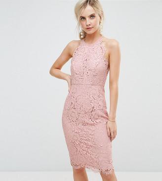 Asos Scallop Pinny Lace Pencil Midi Dress