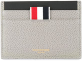 Thom Browne Single Card Holder In Medium Grey Pebble Grain