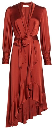Zimmermann Ladybeetle Wrap Silk Midi Dress