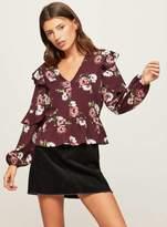Miss Selfridge Petite floral print ruffle blouse