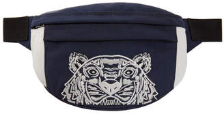 Kenzo Navy and White Limited Edition Colorblock Tiger Bum Bag