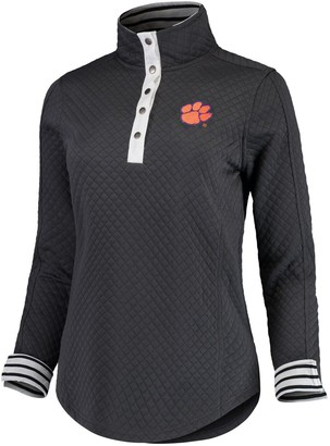 Women's Charcoal Clemson Tigers Out of Your League Quilted Quarter-Snap Pullover Jacket