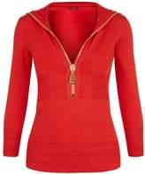 La Perla Knitwear Red Merino Wool Hooded Sweater With Oversized Zip