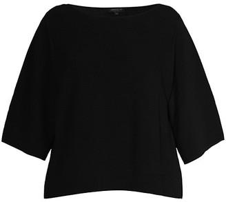 Lafayette 148 New York, Plus Size Crepe Yarn Feminine-Sleeve T-Shirt