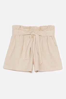 Nasty Gal Womens Belt One Yet High-Waisted Linen Shorts - Stone