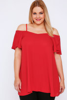 Yours Clothing Red Cold Shoulder Gypsy Top